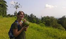 try fresh coconut water in Sekumpul Village Bali