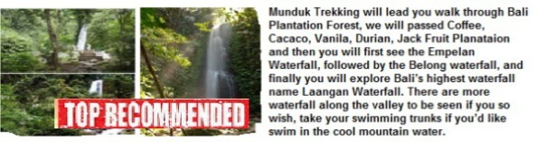 Munduk waterfall and jungle trekking tour