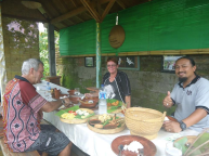 Having lunch at Mayong village after 3 hours trek