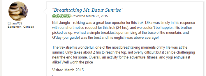 Mount batur trekking reviews