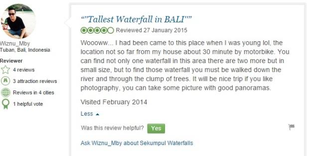 Sekumpul Waterfall Comment 2