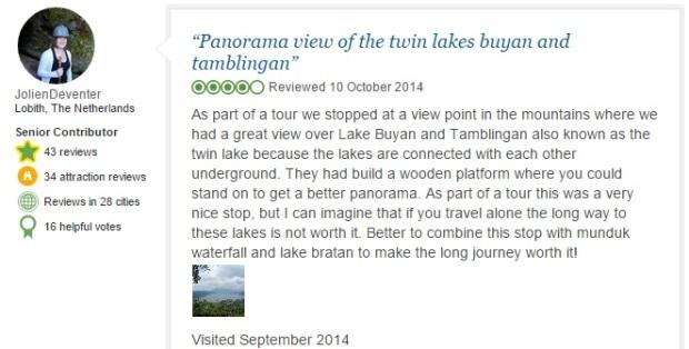 Tamblingan Lake comment 1