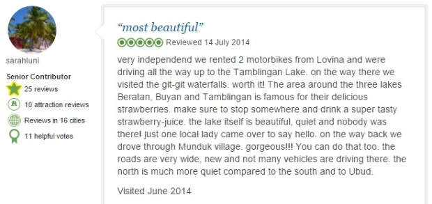 Tamblingan Lake comment 2