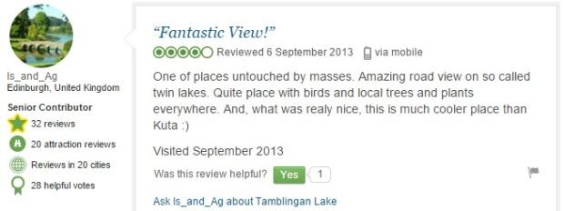 Tamblingan Lake comment 5