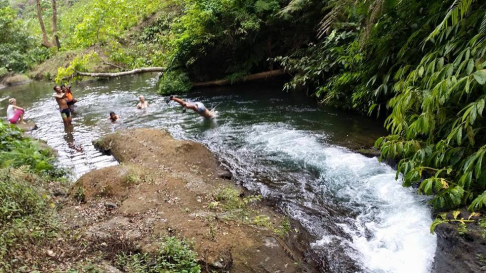 Swimming above the Dwi Murti Waterfalls - Nice waterfalls before Banyumala