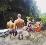 preparation-before-jumping-at-kroya-waterfalls-sambangan-trekking-with-local-guide